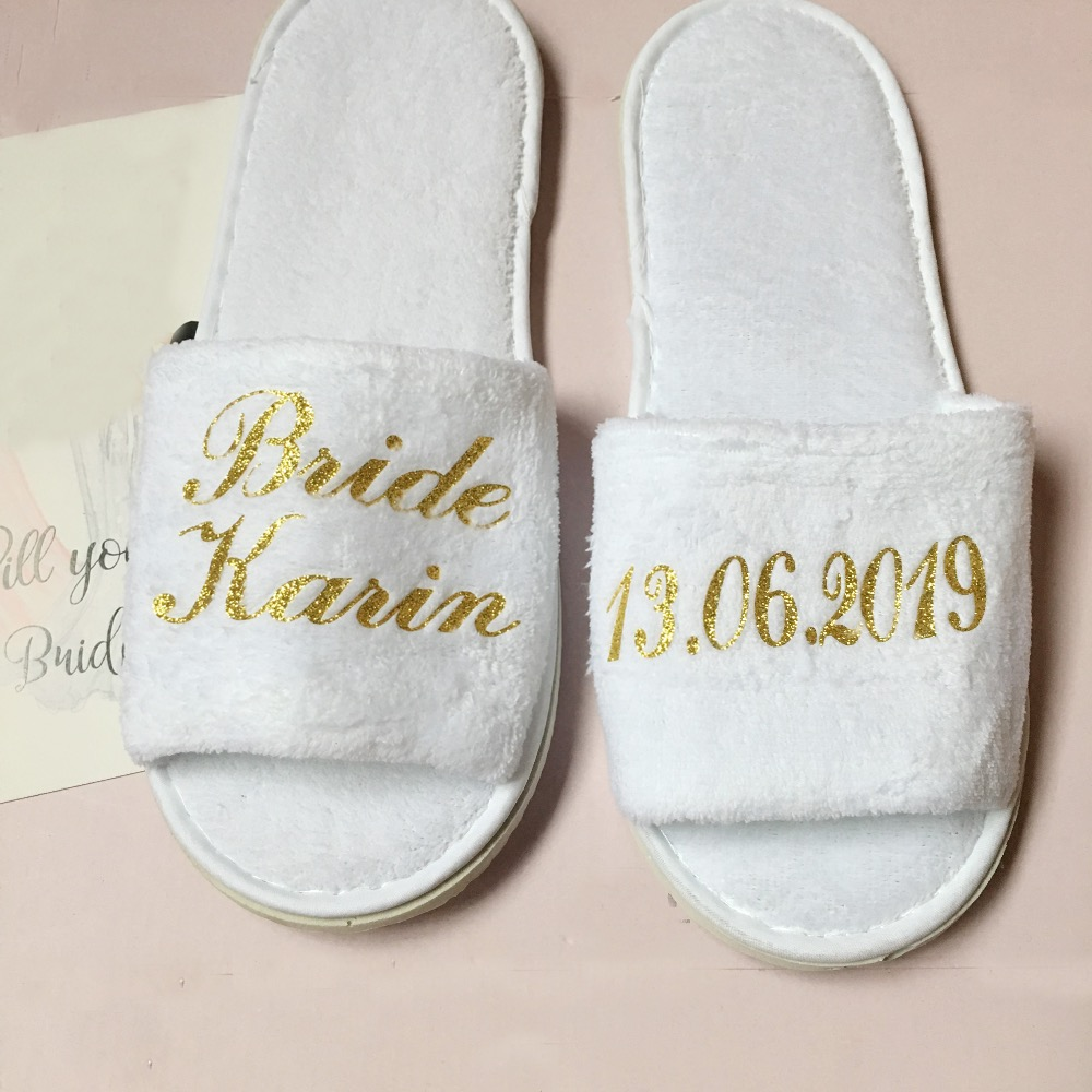 3dd6d8ca6 5 pair lot wholesales Personalized Bride Bridesmaid Groom Groomsman gifts  Hens Night Bachelorette party Spa Slippers for guests-in Party Favors from  Home ...