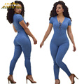 Adogirl 2017 Summer Women Slim Sexy Deep V Neck Overalls Blue Lace Up Bandage Jumpsuit Short Sleeve Skinny Workout Romper