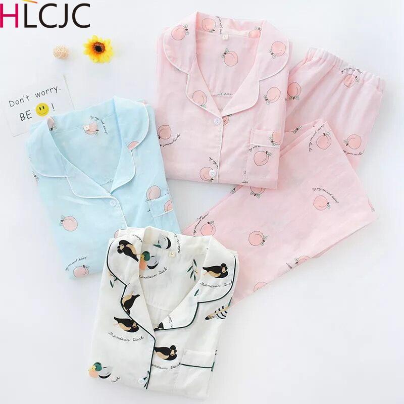 Fresh Honey Peach Womens Long-sleeved Trousers   Pajama     Set   100% Cotton Double-layer Gauze   Pajamas   Spring Pijama 2-piece   Set
