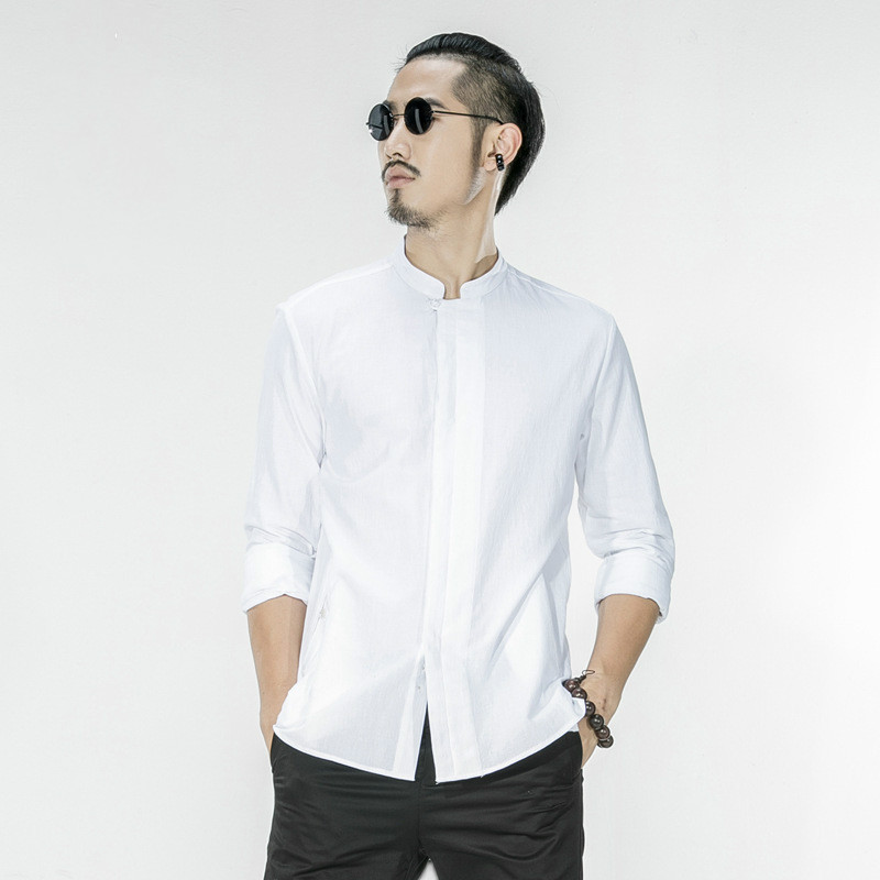 Compare Prices on White Cotton Collarless Shirts- Online Shopping ...