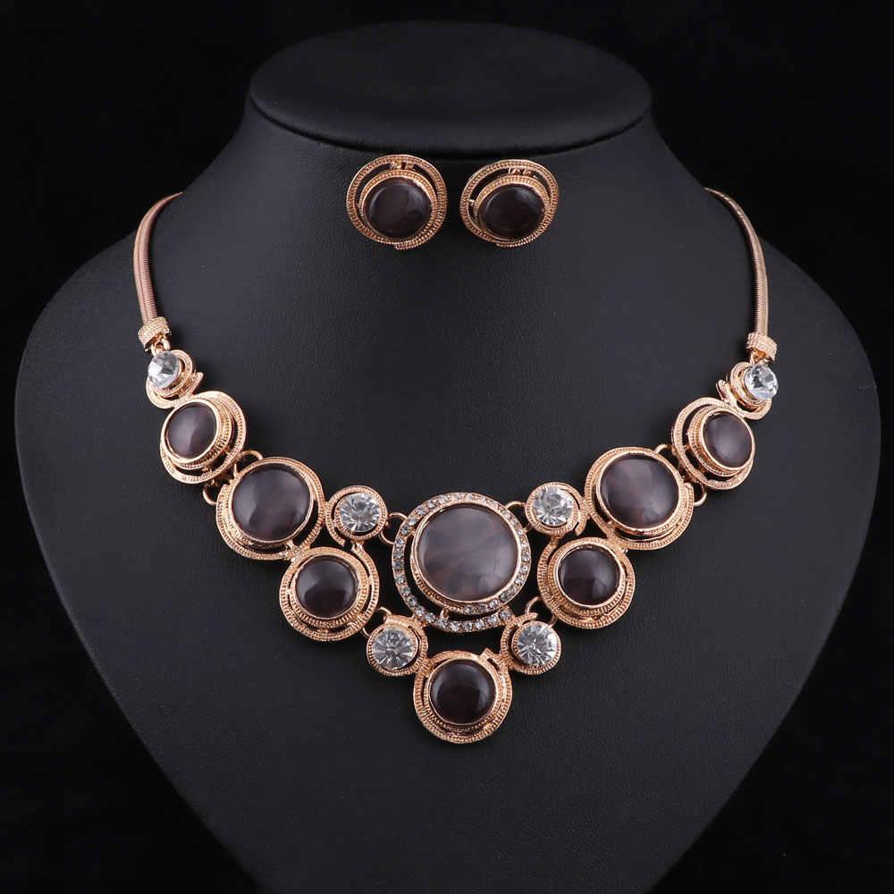 Déclaration collier ensemble mode femmes Vintage or serpent chaîne cristal Zircon Chokers colliers boucles d'oreilles ensembles de bijoux