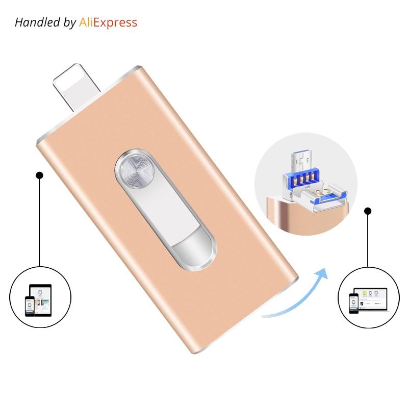 Unidad flash USB 3.0 OTG para iPhone 5/5S/5C/6/6 Plus/7/ iPad/android pendrive usb stick mini USB Flash metal 64 GB 32 GB USB flash