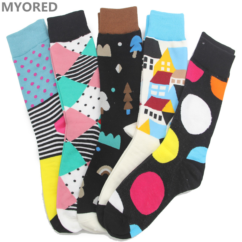 MYORED moške česane bombažne poletne veliko nogavice dolga cev smešna velika velikost zima sokken meias poročno darilo sox 5 parov / veliko