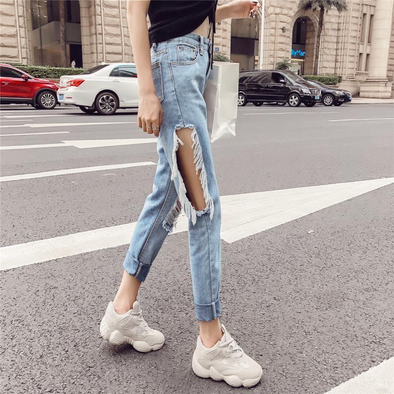 Pants Jeans High-Waist Sexy Korean-Version Fashion Women Wild Harem New-Product Loose