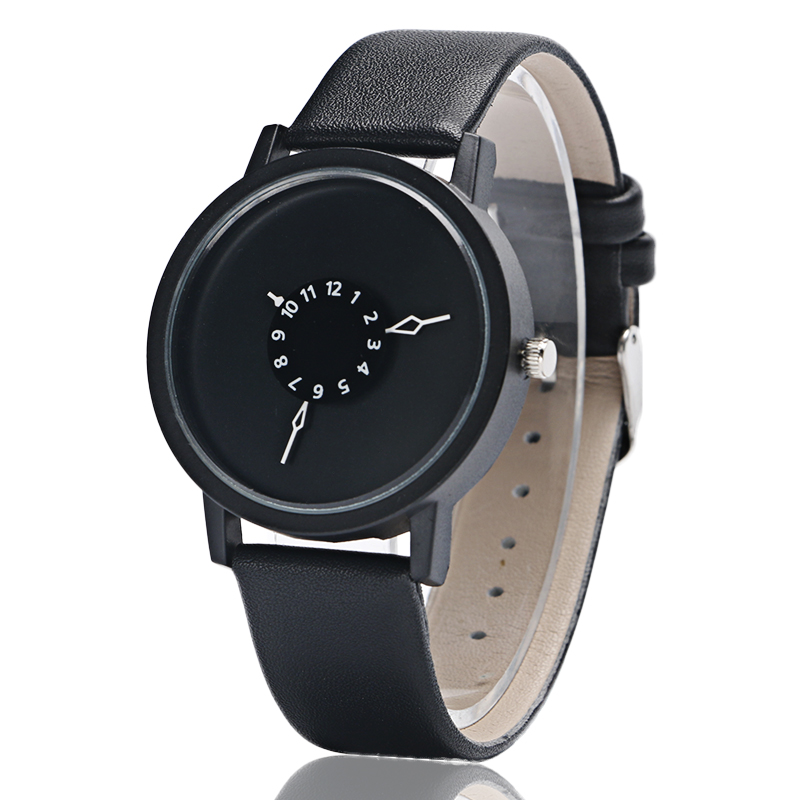 PAIDU Simple Creative Turntable Quartz Watch Men's Fashion Leather Wristwatch Unique Watches Gifts Male relojes masculinos