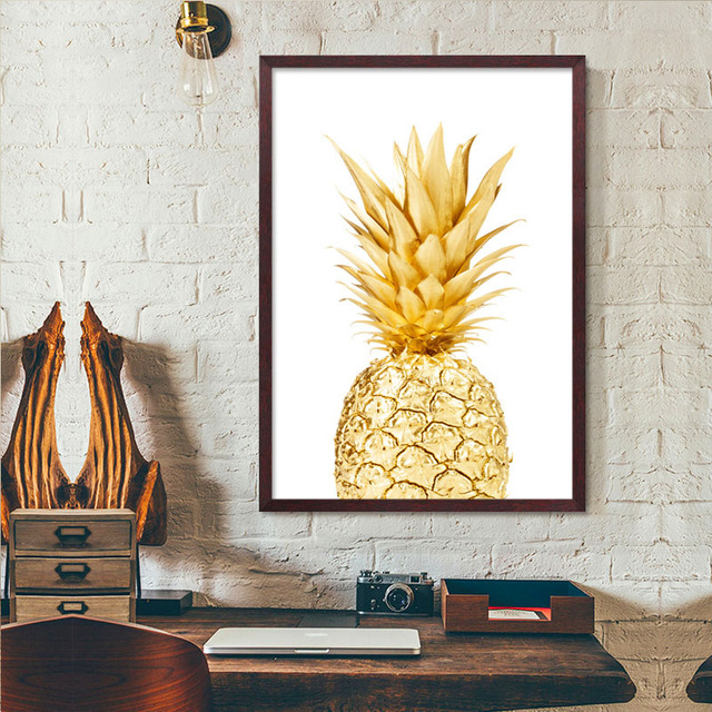 Cuadros Decoracion Nordic Art Gold Pineapple Canvas Paintings ...