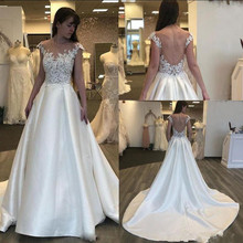 SexeMara 2019 Wedding Dresses with Cap Sleeves Open Back
