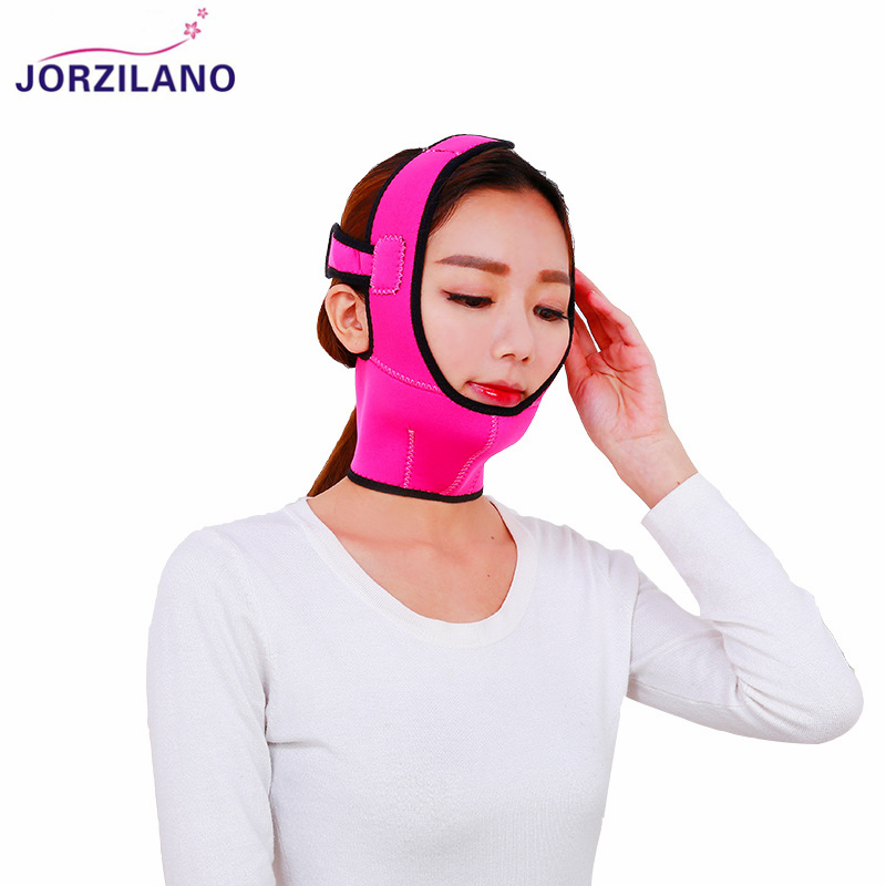JORZILANO Face V Shaper Facial Slimming Bandage Lift Up Belt Shape Lift Reduce Double Chin Face Mask Thining Band Belt Strap red color silicone face slim lift up belt facial slimming massage band mask personal beauty gift