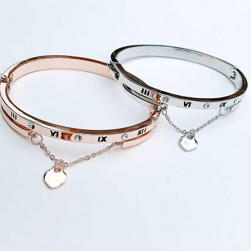 Luckyoverflow luksusowe złota róża bransoletki ze stali nierdzewnej bransoletki kobiet serce na zawsze bransoletka love charm kobiety biżuteria CE0851