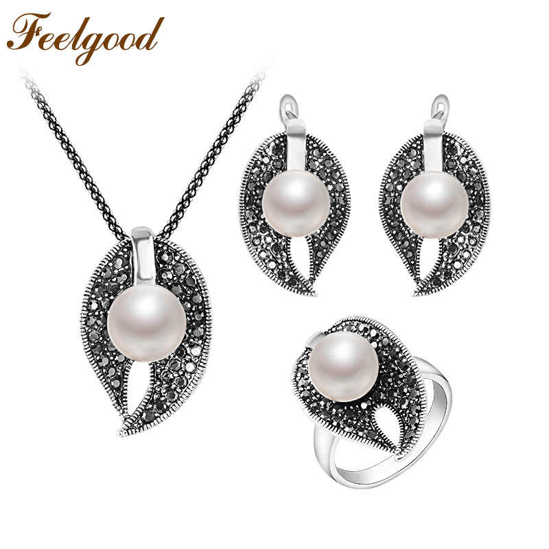 Feelgood New Arrival Silver Color Fashion Black Crystal And Imitation Pearl Jewelry Sets For Women Wedding Party Birthday Gift