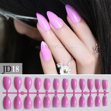 Pink Purple Full Nail Tips Comfortable Artificial nail Pointed Stiletto 24pcs mountain peak Designs Pure colour False nails JD18