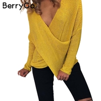 BerryGo Sexy V Neck Cross Knitting Winter Sweater Women Autumn Winter Casual Jumper Fashion Down Sleeve