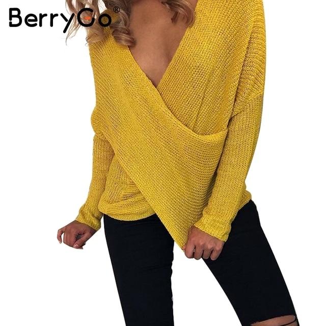 Berrygo Sexy V шеи крест зимний свитер вязать женские осенние тянуть вязать Повседневная Джемпер мода вниз рукав пуловер женский 2017