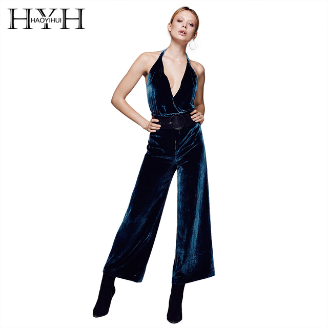 74c56835d8be HYH HAOYIHUI Solid Deep Blue Women Jumpsuits Halter Sleeveless Off Shoulder  Rompers Wide Leg Backless Zipper