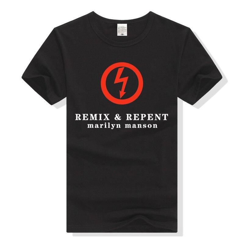 Teewining Мэрилин Мэнсон Remix и покаяться футболка Для мужчин футболка рок-группа футболка тяжелый металл