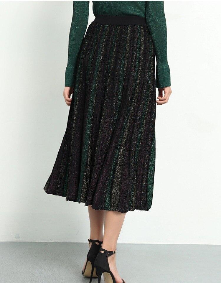 Image 3 - Elegant Pleated Skirt Women 2019 Spring Glitter Knitted Midi  Skirts Women Bling A line Sweater Long Skirt Lady Retro Shiny  SkirtSkirts