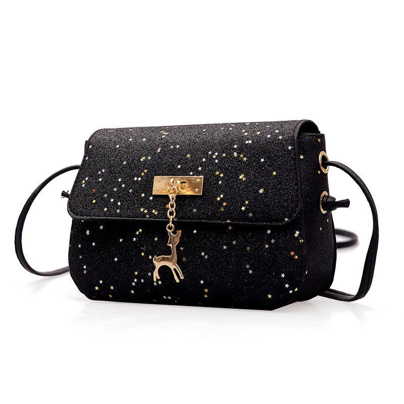 Women Deer Sequins Small Messenger Bag Pu Leather handbag Ladies Luxury Handbag Suede Chain Quilted Shoulder Bags 2018 New messenger bag