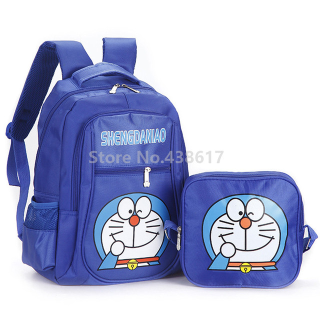 Blue Doraemon Boys Backpack School Bag With Lunch Set 2 for Children Kids  Primary School Book 3974636ae4013