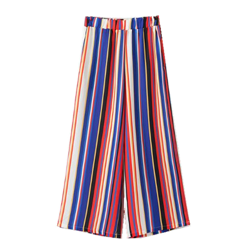 Chic Rainbow Colored Striped Print Wide Leg Pants 2018 Woman Elastic High Waist Ankle-Length Casual Loose Trousers 1