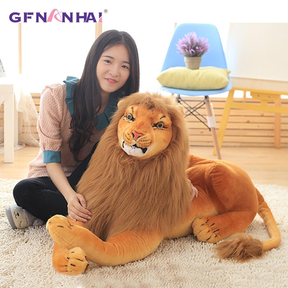 1pc 75/90/110cm Creative Simulation Huge Size Lion Plush Dolls Realistic Animal Forest King Lion plush toy Stuffed Soft Toys