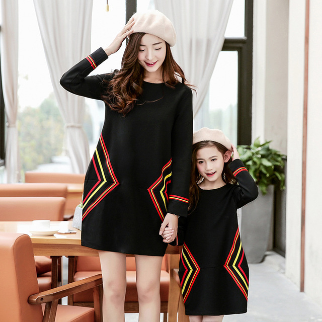 mother daughter dresses 2017 Family Matching Outfits knitting dress family clothing mother and daughter clothes