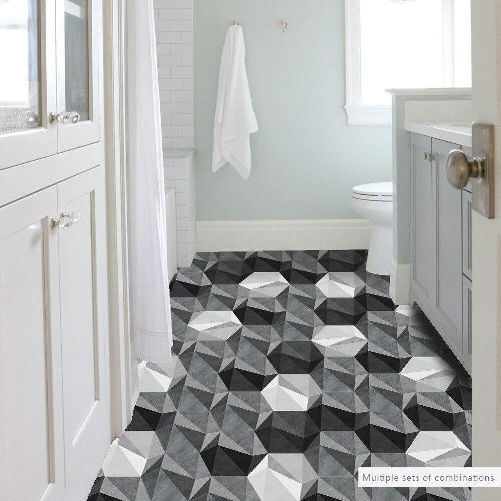 10pcs/Pack Black White hexagonal DIY Vinyl Self Adhesive wall ...