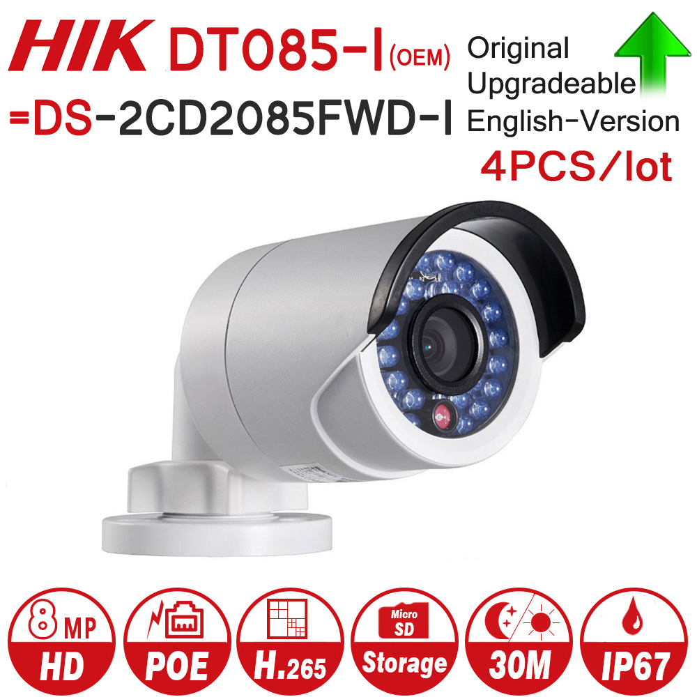 Hikvision OEM IP Camera 8MP DT085-I = DS-2CD2085FWD-I Bullet network CCTV Camera Updateable POE WDR POE SD Card Slot 4pcs/lot hikvision original international h 265 8mp mini outdoor ip camera ds 2cd2085fwd i 4k bullet cctv camera poe onvif ip67 ir 30m