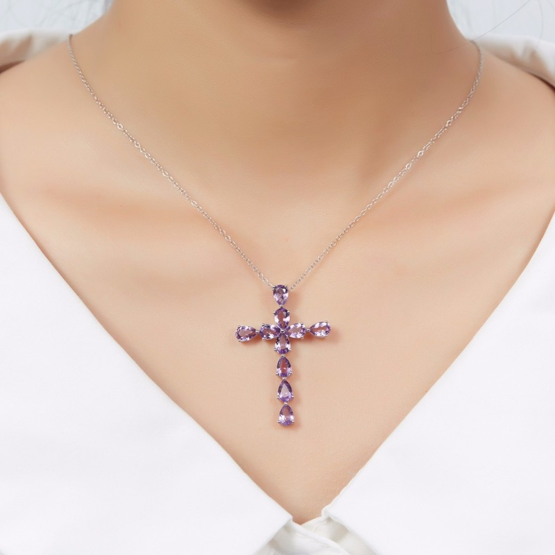 TJP New Arrival Crystal Purple Cross Pendant Necklace For Women Accessories Fashion 925 Sterling Silver Necklace Girls Jewelry in Pendant Necklaces from Jewelry Accessories