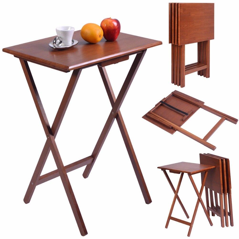 Goplus набор из 4 шт. Портативный дерево ТВ стол складной стол поднос выступающей Мебель орех Кофе стол Новый столы hw52232 ...