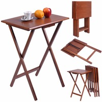 Goplus Set Of 4 Pieces Portable Wood TV Table Folding Tray Desk Serving Furniture Walnut Coffee