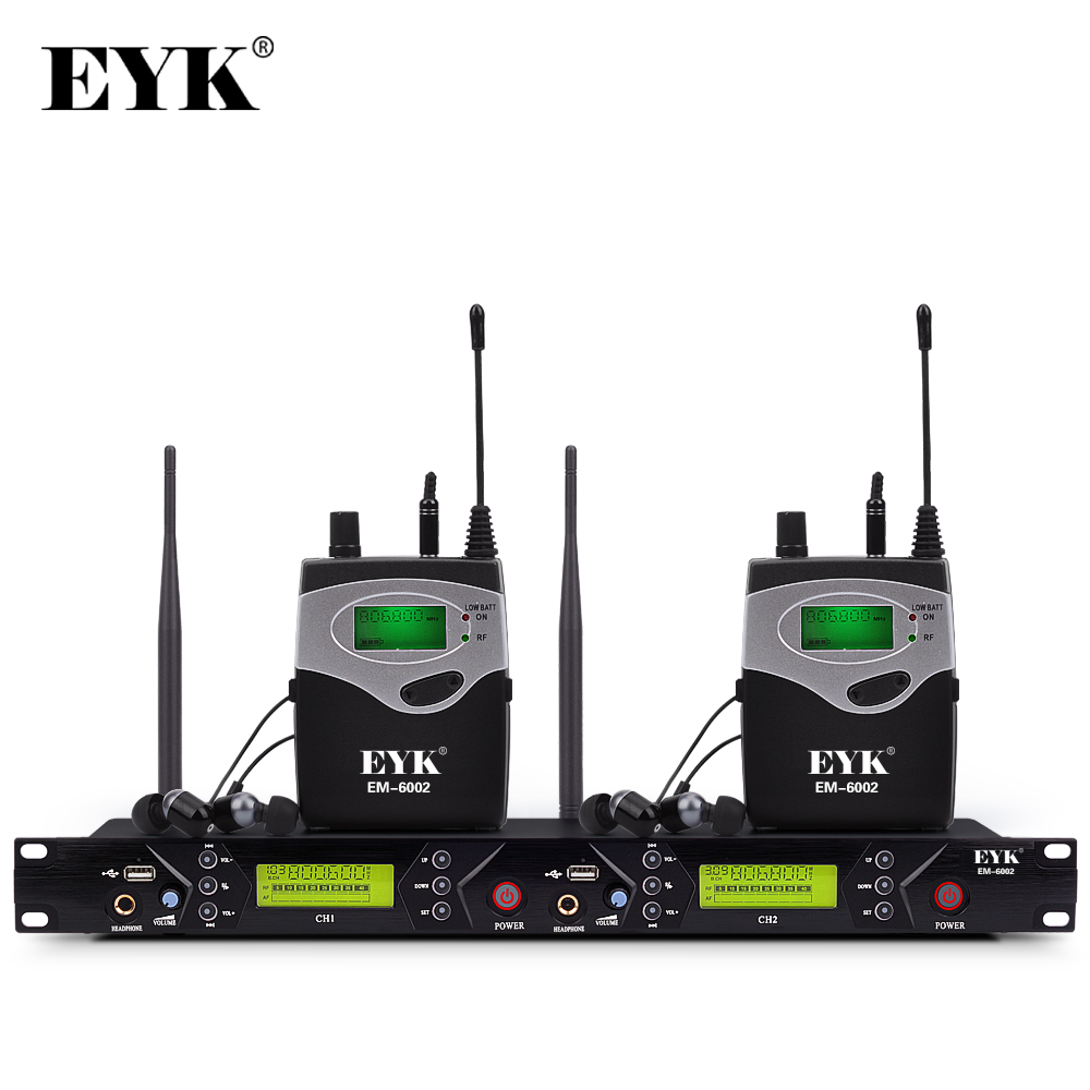 EM 6002 Wireless In Ear Monitor System Professional Stage Performance Ear Monitoring Systems with Two Bodypack