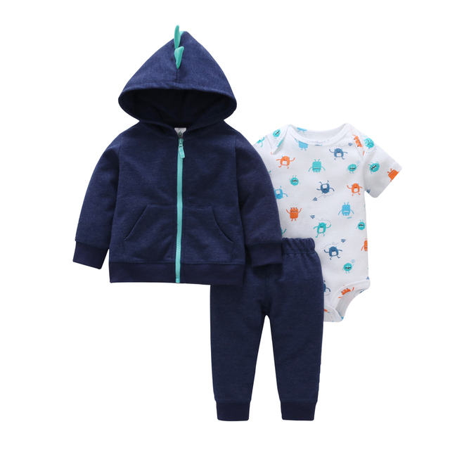 dba5aaae35b06 2019 BABY BOY CLOTHES autumn winter cotton long sleeve hooded  coat+romper+pants 3PCS tracksuit infant newborn baby girl clothing