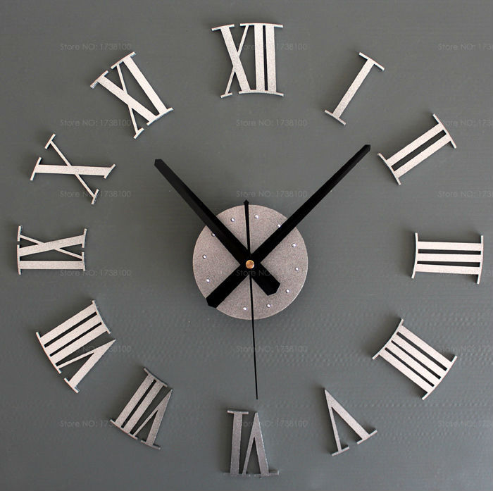 Attractive Large Modern Clock Part - 4: Online Shop Modern Design 3D DIY Mirror Wall Clock With Roman Numerals Home  Acrylic Sticker Large Decorative Wall Clock ZYD-AC07 | Aliexpress Mobile