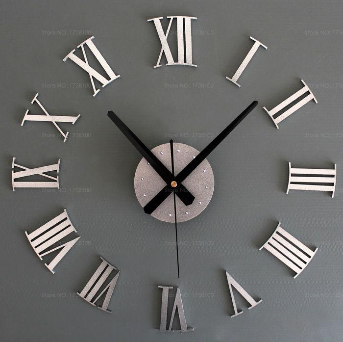 Modern Design Diy Mirror Wall Clock With Roman Numerals Home