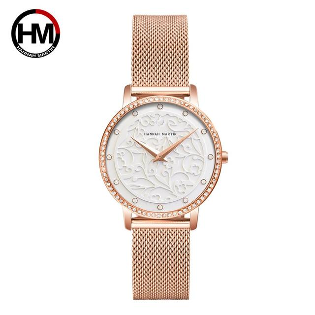 Women Rhinestones Watches Fashion White Flower 3D Engraving Dial Face Japan Movt Waterproof Top Luxury Brand Ladies Watches