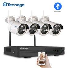 Techage 4CH Беспроводной CCTV Системы 1080 P NVR 2MP открытый аудио безопасности Wi-Fi IP Камера ИК ночного P2P видеонаблюдения комплект 1 ТБ HDD
