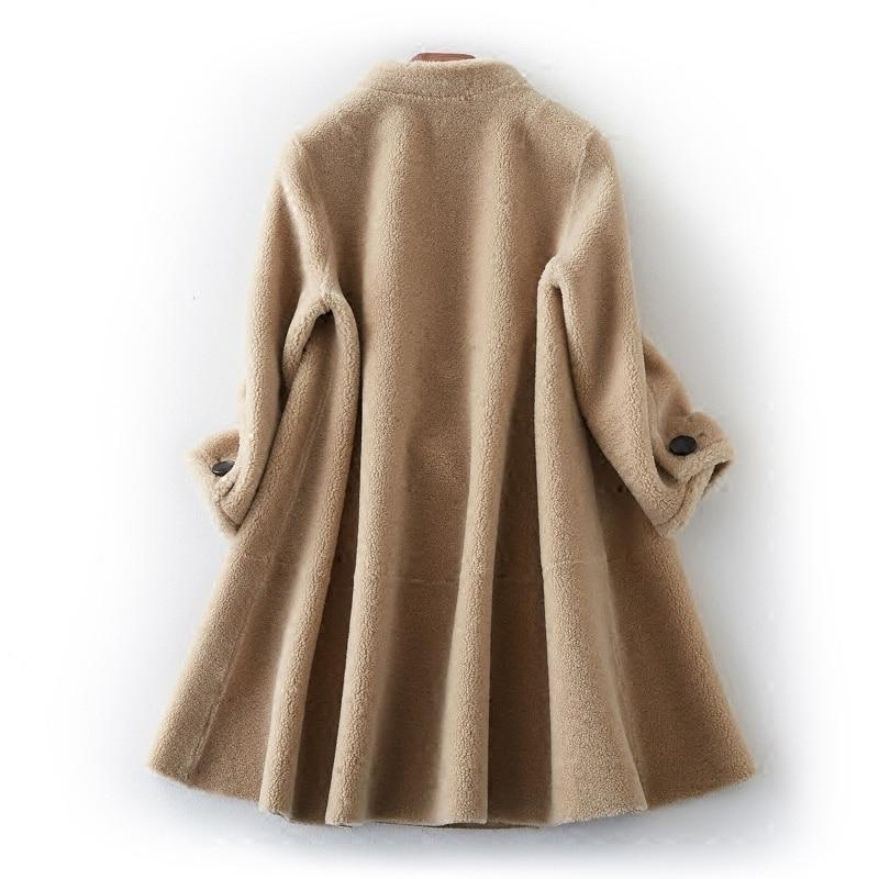 Caramel Moutons Mujer Chaquetas Réel Des Yolanfairy Vestes Tonte Fourrure Veste Manteaux Invierno Épais Automne Mf503 De camel D'hiver Chaud Femmes Laine BqHOpfZq