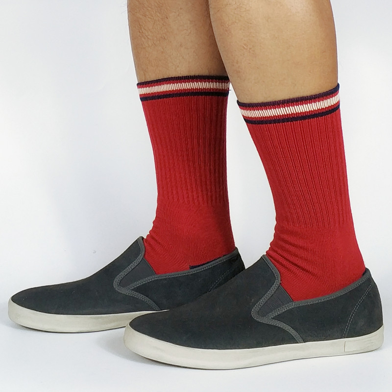 Mens Red Skate Crew Socks USA Size 6-8.5, 9-12 ,Euro Size 39-41.5,42-45 (Thick)
