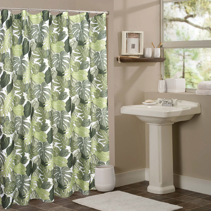 UFRIDAY Green Leaf Shower Curtain Tropical Plants Printing Screen ...
