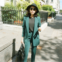2017 Womens Two Piece Pant Suits Fashion Office Business Suits Formal Work Wear Sets Uniform Green