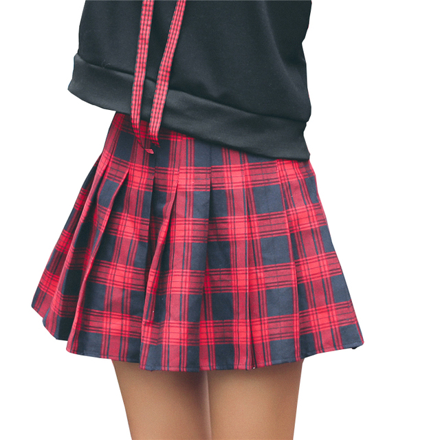 e975ba06a0 Pleated Skirts Womens High Waist Saia Plissada Harajuku Cheerleader Skater  Skirt Shorts Girls School Skirt Uniform