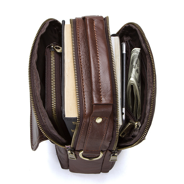 CONTACT'S Genuine Leather Shoulder Bags Fashion Men Messenger Bag Small ipad Male Tote Vintage New Crossbody Bags Men's Handbags 3
