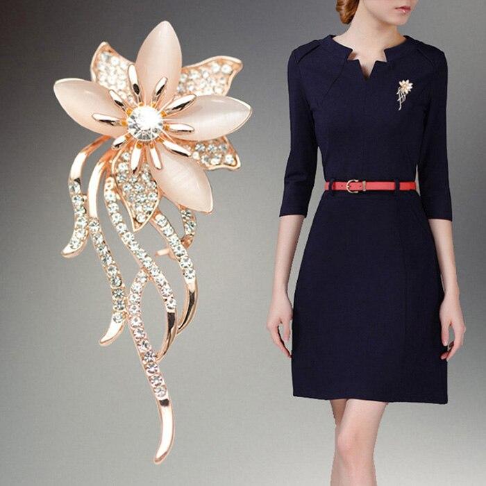 Для женщин броши цветок Форма Сплав инкрустация стразами опал дамы Костюмы Pin Брошь Модные украшения аксессуары для подарков @ M23