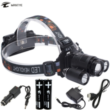 Zoomable LED Headlamp Flashlight 10000LM XM-L 3*T6 Head Torch 4 Mode Head lamp use 18650 Rechargeable battery for Camping