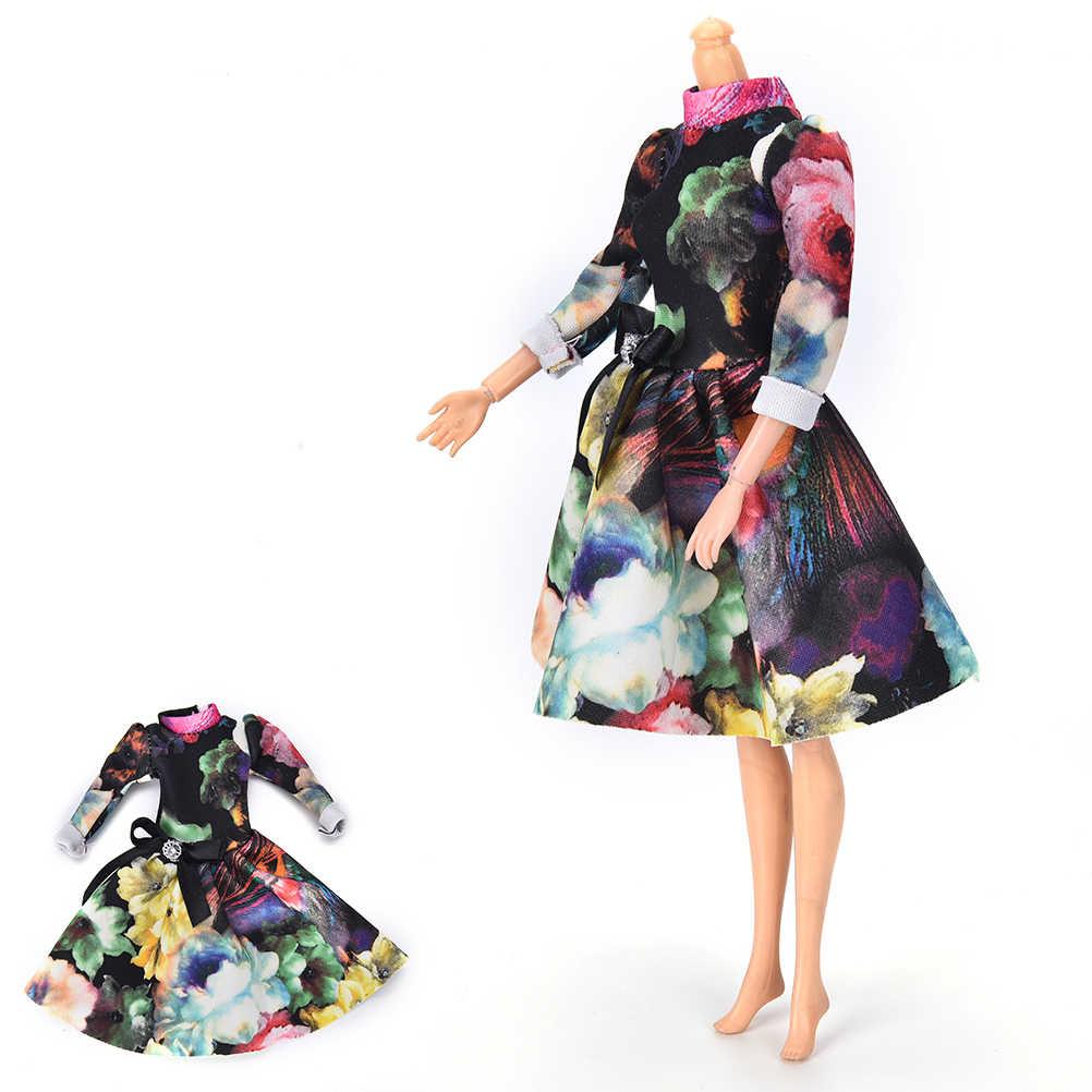 """Buatan Tangan Yang Indah Baju Pesta Gaun untuk 9 """"Boneka Mini Besar Flover Cetak Boneka Gaun Malam"""