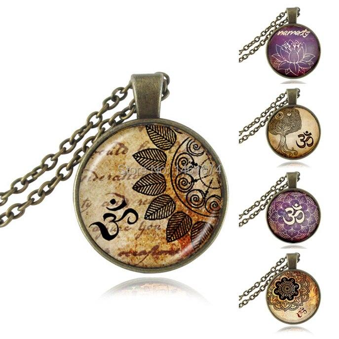 Vintage collar del encanto de la flor collares pendientes joyería Hindú Om Om yoga joyería flor