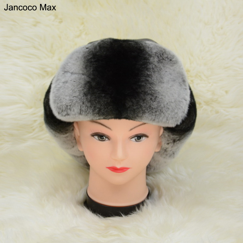 Jancoco Max S1573 Factory direct Sell  Real Rex Rabbit Fur Hat Genuine Leather Warm Winter Women Man Cap Wholesale / Retail aidocrystal heart shape factory direct sell fashion woman diamond clutch for lady