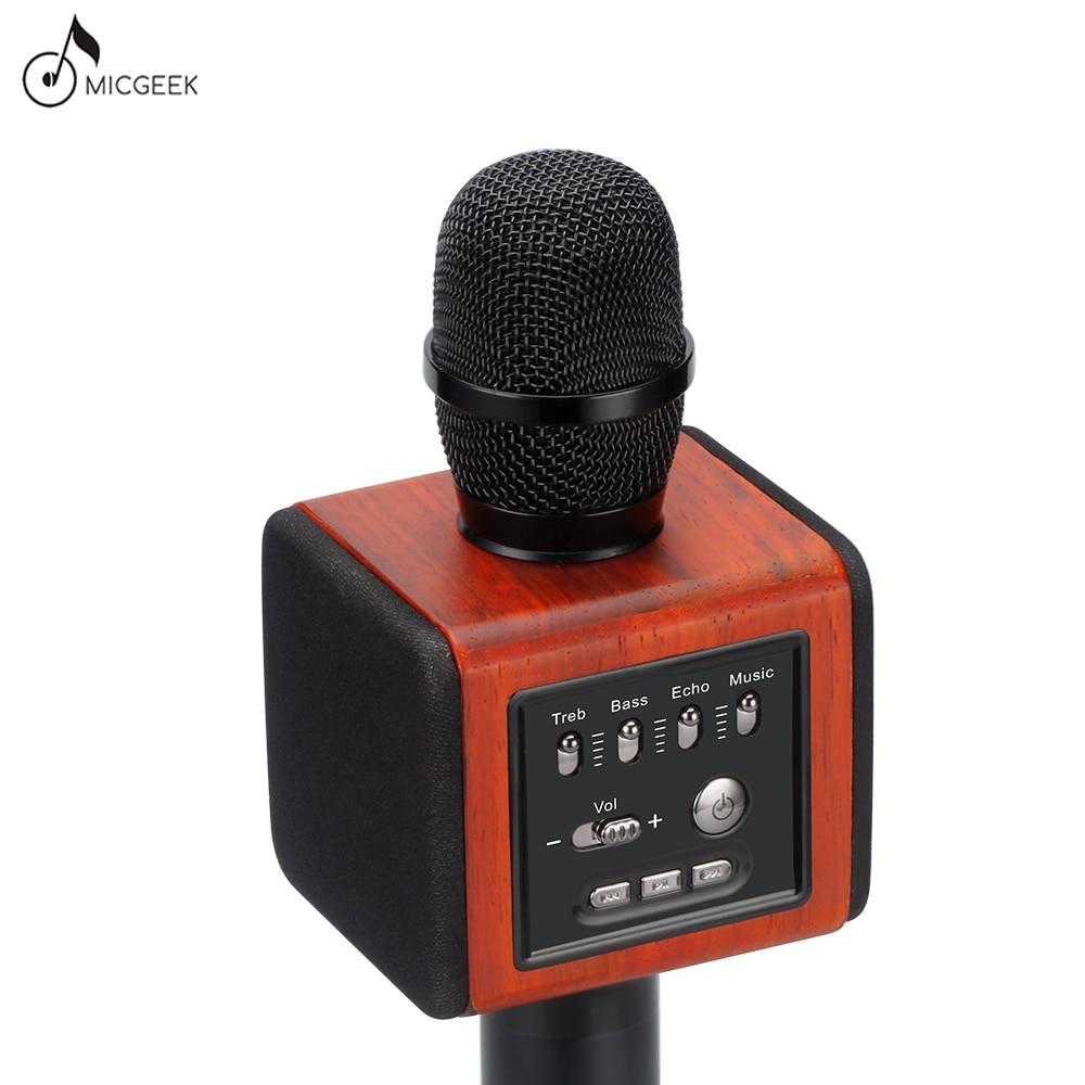 Original Brand MicGeek New ELF Wireless Karaoke Microphone 2.1 Sound Track Natural Rosewood DSP Chip Voice Speakers Smartphone lenovo original um10c portbale wired microphone karaoke microphone professional concert live wireless microphone for smartphone