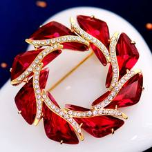 Women's wedding Crystal Brooch corsage pin female sweater retro color coat dress Lady Pin flame accessories