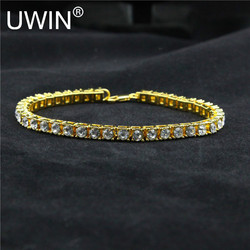 Hip hop men bracelet silver gold plated iced out 1 row rhinestones bracelet chain clear simulated.jpg 250x250